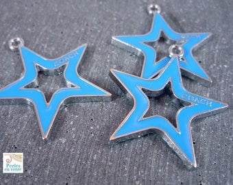 1 charm blue enamel star, 25mm (BRE192)