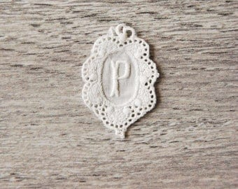"Vintage, white Monogram hand embroidered, vintage initial ""P"" to apply, old hand made embroidery, to revamp Shabby chic style."
