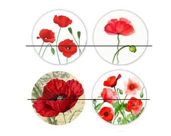 25 mm gorgeous set of 4 glass cabochons to glue 25 mm Coquelicot3
