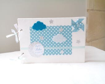Windmill, sky blue and grey baptism guestbook