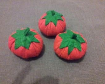 Set of 3 felt for dinette tomatoes