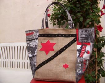 burlap tote bag and paris print