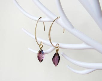 Swarovski Lilac Shadow Crystal and gold plated earrings