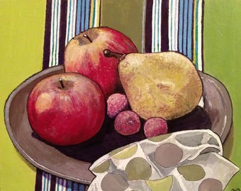 still life apples, pears, fruit