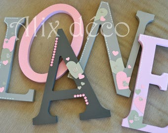 Child name wooden letters painted and decorated to hang theme hearts (made to order)