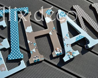 Child's name in wooden letters painted and decorated to hang theme nattou (made to order)