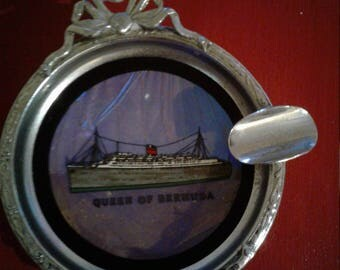 Vintage RMS Queen of Bermuda Collectible Souvenir Butterfly Wing Ashtray.