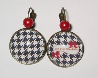Earrings cabochon 20 mm * Bon Chic good kind jewel *.