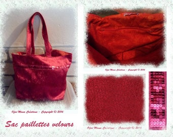 Bag glitter red - tote bag large size for women - unique