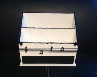 Music, desk Organizer, letter, box, black and white