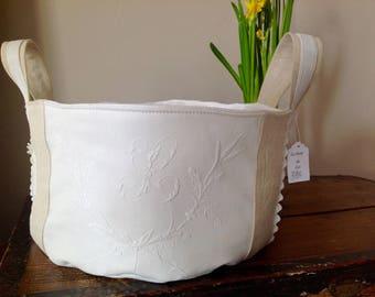 French antique linen and Monogram L natural color basket
