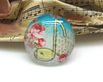 1 cabochon 25 mm music Note Vintage yellow glass - 25 mm