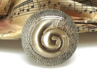 2 cabochons 14 mm glass antique spiral gold - 14 mm