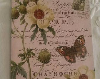 Vintage postcard for scrapbooking / flowers and Butterfly decoration / embellishment