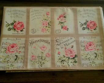 Cut of fabric 47 X 30 cm / shabby chic fabric / 8 miniatures of old roses