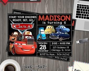 Disney Cars Invitation, Disney Cars Birthday, Disney Cars Invite, Disney Cars Party, Disney Cars Printable, Disney Cars Editable, Cars PDF