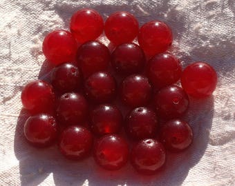 Wire 39cm env - stone beads - Jade balls 12 mm red 32pc