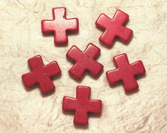 2PC - cross 30mm red 4558550029249 synthetic Turquoise beads