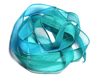 Necklace blue green Turquoise Peacock (SOIE128) - 8741140003071 130x1.8cm hand dyed silk ribbon