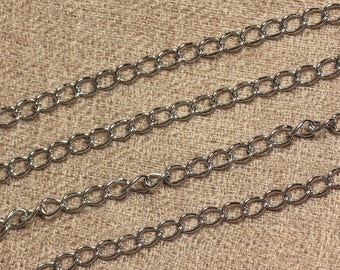 Steel 304L - 6x4x0.8mm twisted ovals - 1 m chain 4558550006691