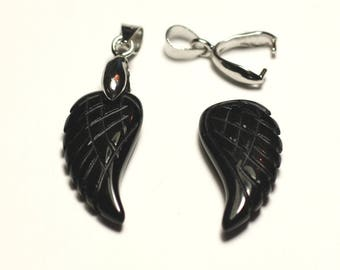 1pc - gemstone pendant - Agate wing engraved 24mm - 8741140016774 black