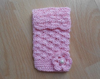 cases pink cotton crochet for mobile phones