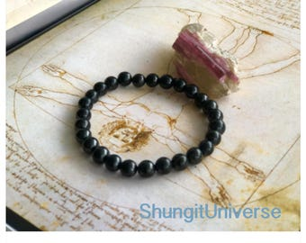 Shungite bracelet 6 mm bead, emf protection, root chakra balancing,healing crystal,gift for him, male jewelry