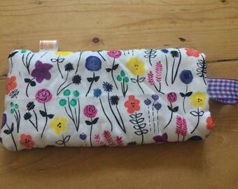 Handmade children's quilted padded sunglasses case - *Wild flowers*