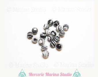 10 pearls 8mm striped turquoise Turkish black and white