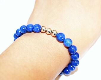 Mens bracelet - gemstone cyan blue