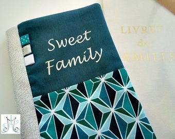 "Protects family book ""Sweet Family"" teal duo geometric"