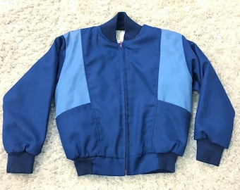 Vintage Baby Blue Colorblock Boys Bomber Jacket Size 6/8 Years