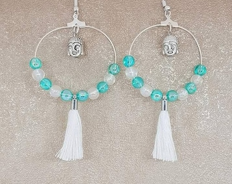 Buddha and tassel earrings