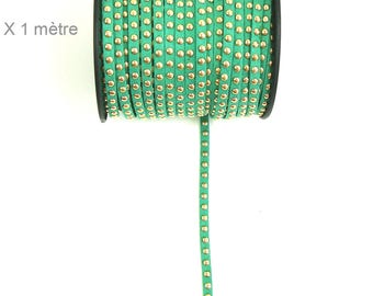 Suede studded cord green medium 6mm X 1 meter