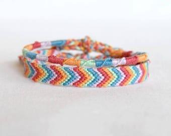 Duo of bracelets Brazilians chevrons and spiral blue purple pink green orange hippie boho bracelets colorful woman Brasilda
