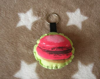 Red Strawberry macaron Keychain coated round