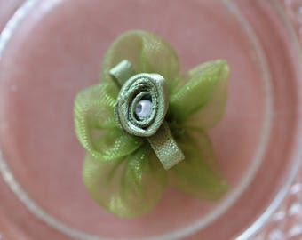 flower green voile Ribbon Pearl scrapbooking