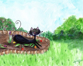Humorous watercolor cat and tulips on Diablo series