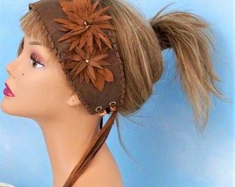 Woman's leather headband, Burning man festival head wrap, gypsy flower headband, wide tie on headband, hippie leather headband, tassel belt