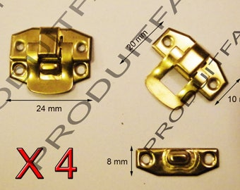 Set of 4 clasps gold latch lock box treasure chest box 24 by 20 screws included