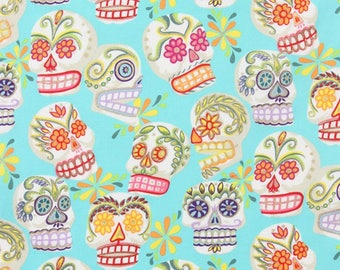 Turquoise skull head Alexander Henry fabric