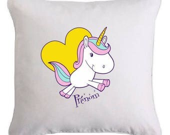 "Removable cushion personalized ""little Unicorn"""