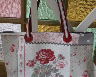 Nice bag Tote with large and small flowers - handles patchwork fabric lace