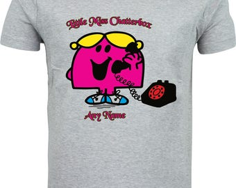 Personalised little miss chatterbox funny humour gift full color sublimation t shirt