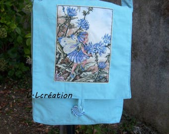 Messenger bag in blue cotton fabric with fairy image