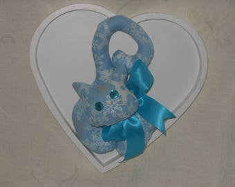 FABRIC BLUE DOOR CAT PRINTED SNOWFLAKES