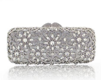 Silver Clutch, Crystal Clutch, Bridal Clutch, Wedding Clutch, Indian Clutch, Prom Clutch, Evening Clutch Bag, Gift for Her, Holiday Gift