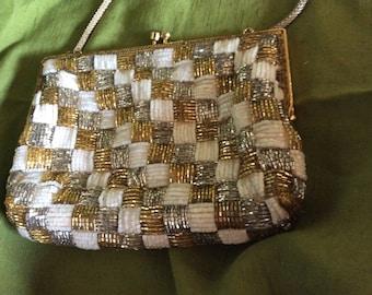 Vintage Multi Matalic Beaded Purse Evening Bag