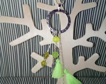 Necklace silver beads and neon yellow tassel