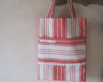Small coral and Ecru striped canvas shopping bag